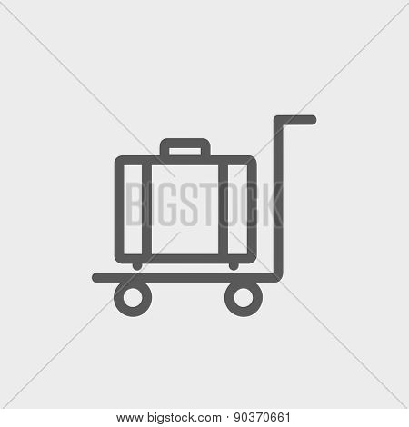 Trolley luggage icon thin line for web and mobile, modern minimalistic flat design. Vector dark grey icon on light grey background.