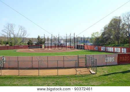 STONY BROOK, NY - MAY 4, 2015: Stony Brook University Softball Field. Home of the Seawolves, a NCAA Division 1 athletic program and a member of the America East Conference.