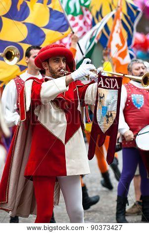 Trumpeter , Reenactment In Medieval Costumes