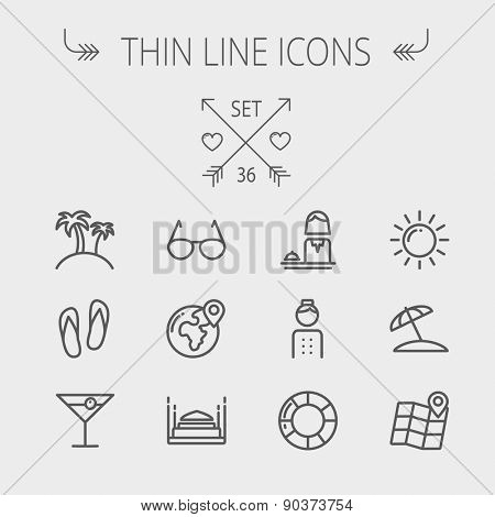 Travel thin line icon set for web and mobile. Set includes- beach umbrella, slippers, map, sun, sunglasses, palm tree icons. Modern minimalistic flat design. Vector dark grey icon on light grey