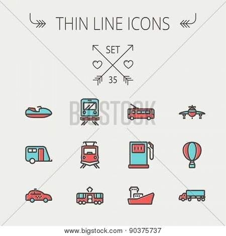 Transportation thin line icon set for web and mobile. Set include-gas pump, vessel, car, train, bus, boat icons. Modern minimalistic flat design. Vector icon with dark grey outline and offset colour