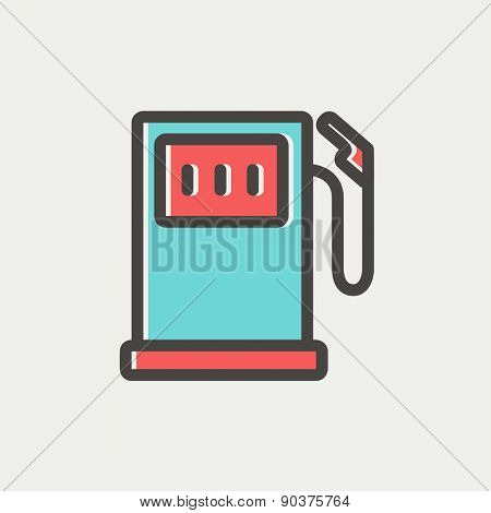 Gas pump icon thin line for web and mobile, modern minimalistic flat design. Vector icon with dark grey outline and offset colour on light grey background.