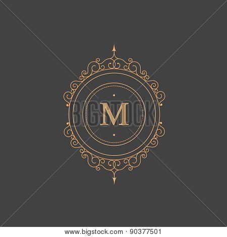 Vintage retro monogram, restaurant, hotel, boutique  Heraldic victorian Design with flourishes elega