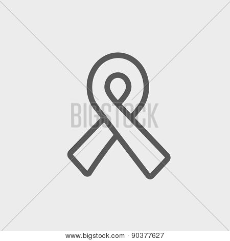 Unity ribbon icon thin line for web and mobile, modern minimalistic flat design. Vector dark grey icon on light grey background. poster