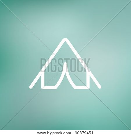 Tent icon thin line for web and mobile, modern minimalistic flat design. Vector white icon on gradient mesh background. poster
