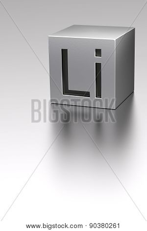 Lithium Cube With Li Sign