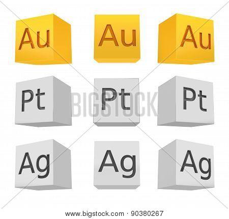 Noble Metal Cube Set; Gold; Silver; Platinum