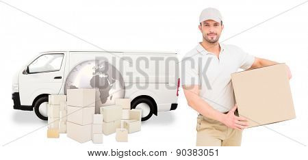 Delivery man carrying cardboard box against logistics graphic