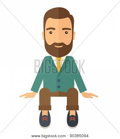 A happy businessman smiling while sitting for his business success. Business concept. A Contemporary style. Vector flat design illustration isolated white background. Square layout.