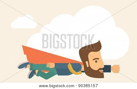 A super businessman flying high to achieve his goal. Leadership concept. A Contemporary style with pastel palette, soft beige tinted background. Vector flat design illustration. Horizontal layout with