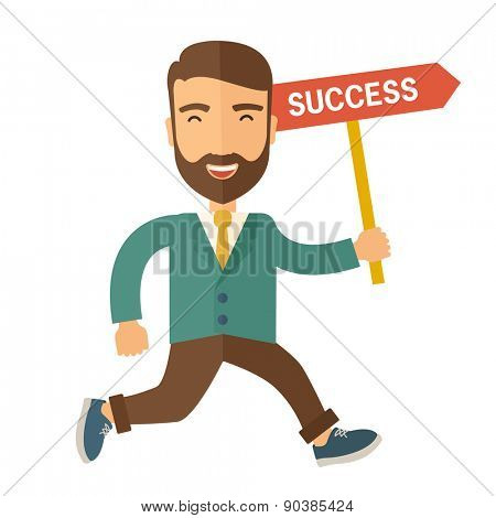 A happy hipster businessman smiling while jumping for his succeess. Business growth concept. A Contemporary style. Vector flat design illustration isolated white background. Square layout.