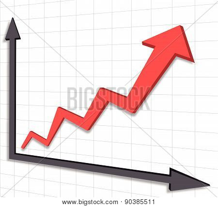 Graph chart red arrow