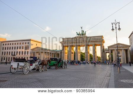 BERLIN, GERMANY - MAY 22, 2014: View on the Brandenburg Gate in Berlin, Germany. An 18th-century neoclassical triumphal arch in Berlin, one of the best-known landmarks of Germany.