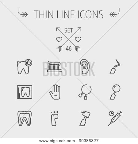 Medicine thin line icon set for web and mobile. Set includes- tooth, toothbrush, dental tools, foot, hand, syringe icons. Modern minimalistic flat design. Vector dark grey icon on light grey