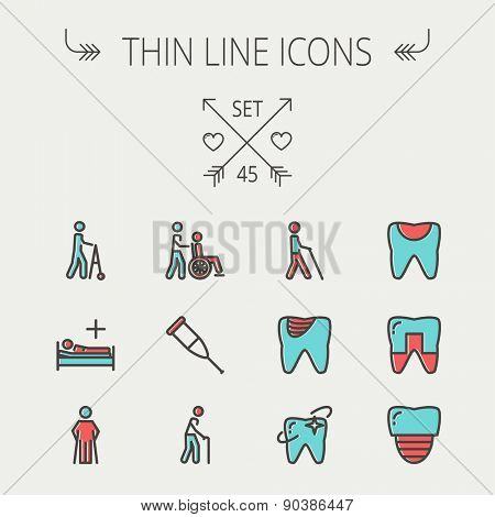 Medicine thin line icon set for web and mobile. Set include- tooth, crutches, walker, injured person, sick person icons. Modern minimalistic flat design. Vector icon with dark grey outline and offset