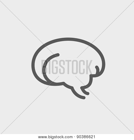 Human brain icon thin line for web and mobile, modern minimalistic flat design. Vector dark grey icon on light grey background.