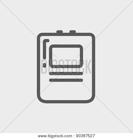 Heart defibrillator icon thin line for web and mobile, modern minimalistic flat design. Vector dark grey icon on light grey background.