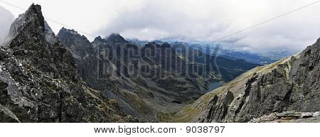 Panoramic of high Tatras mountains in Poland poster