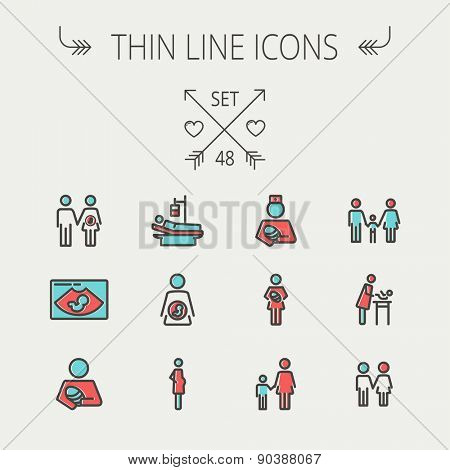 Medicine thin line icon set for web and mobile. Set include- sick person, pregnant, wife and husband, ultrasound, baby, nurse, family, siblingsicons. Modern minimalistic flat design. Vector icon with