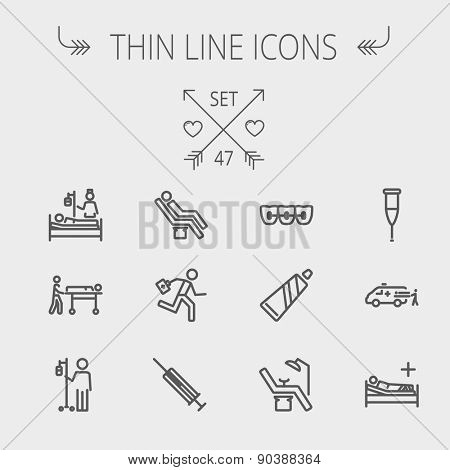 Medicine thin line icon set for web and mobile. Set includes-teeth braces, toothpaste, dental chair, syringe, crutch, ambulance, patient, IV  icons. Modern minimalistic flat design. Vector dark grey