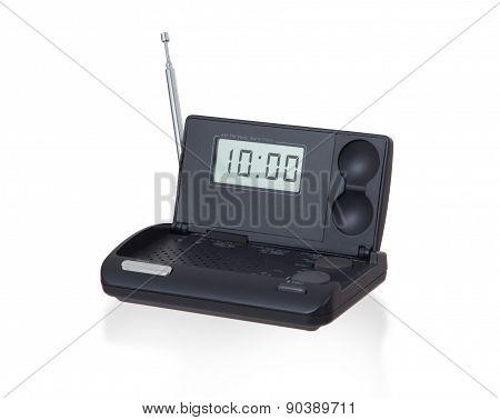 Old Digital Radio Alarm Clock Isolated On White