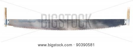 two handled saw isolated on white background poster