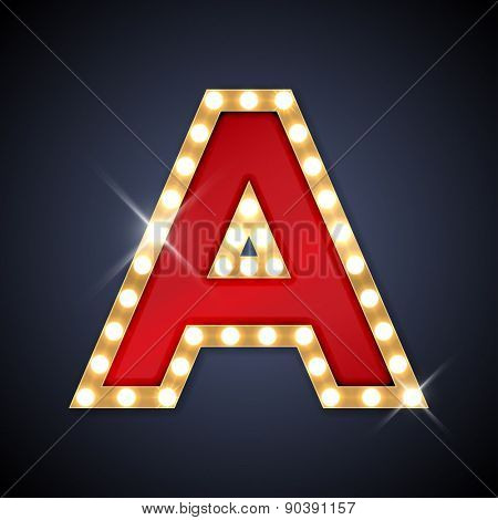 Vector illustration of realistic retro signboard letter A. Part of alphabet including special European letters.