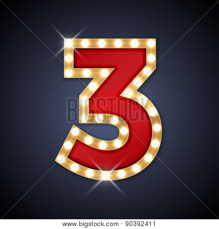 Vector illustration of realistic retro signboard number 3 (three). Part of alphabet including special European letters. poster