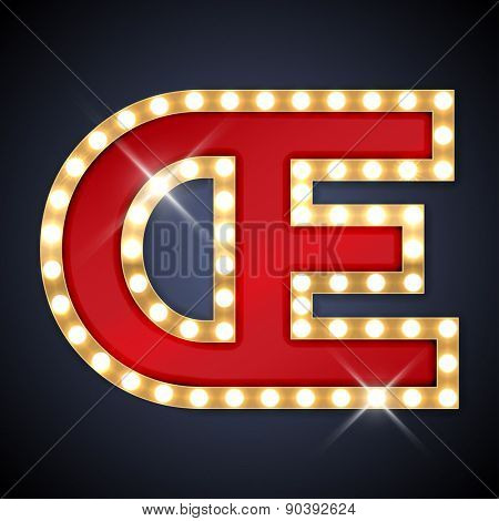 Vector illustration of realistic retro signboard letter Π(ligature OE). Part of alphabet including special European letters.