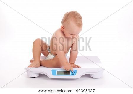 Baby Boy Check Own Weight On Scales