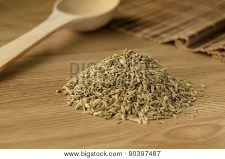Spice Fennel On A Wooden Table 2.