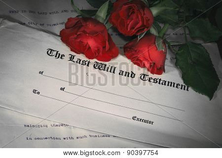 Last will and testament with red roses