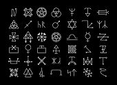 Big set of religion and philosophy, spirituality and occultism icons. Pentagram and star, magic and mystery esoteric. Vector illustration poster