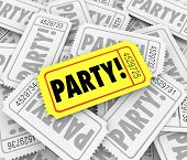 Party word on tickets to invite you to a special birthday or anniversary party or exclusive event or celebration gathering poster