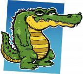 Vector illustration of a smirking cartoon alligator. poster
