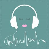 White headphones with cord in shape of cardiogram track line. Pink lips and eyelashes Love Music card. Flat design Vector illustration. poster