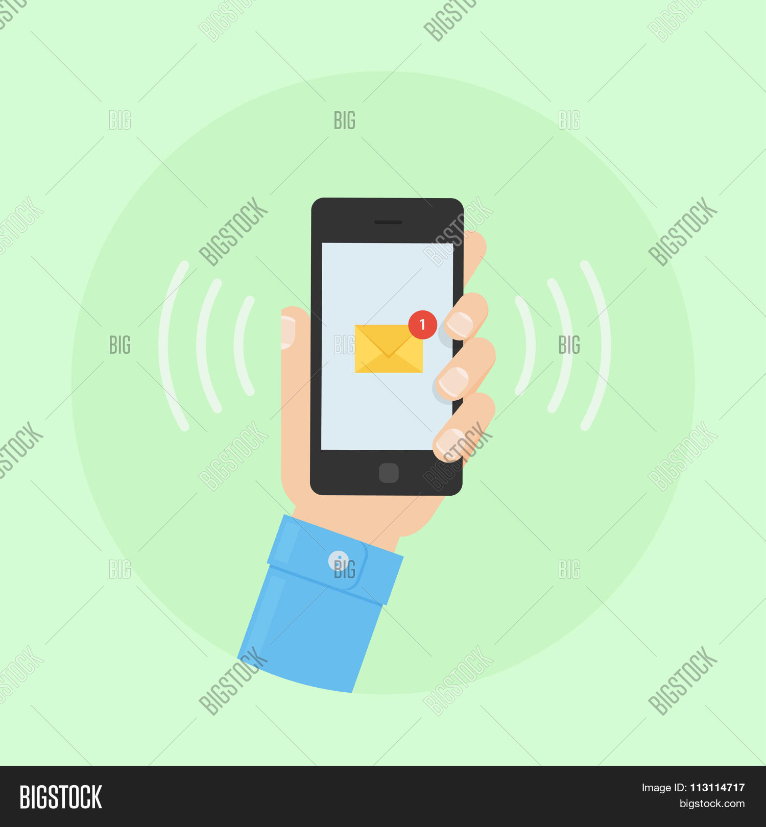 SMS Message Receiving Vector & Photo (Free Trial) | Bigstock