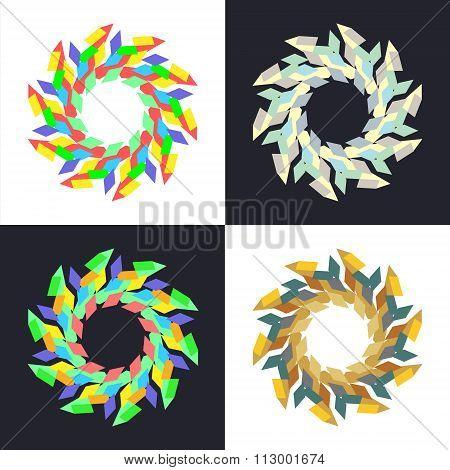Circular Geometric Mosaic Patterns On White And Black Square.
