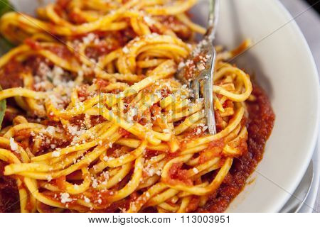 Plate Of Spaghetti Bolognese With Fork