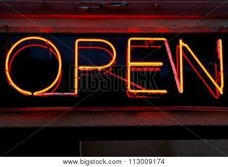 Bright Red And Orange Open Sign