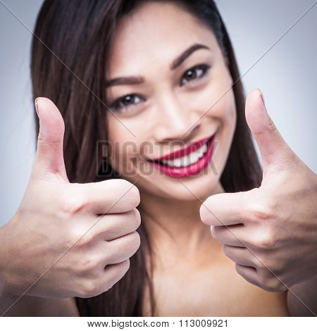 Smiling Girl Successful Thumbs Up Ok
