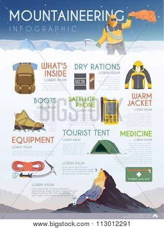 Vector mountaineering brochure infographic