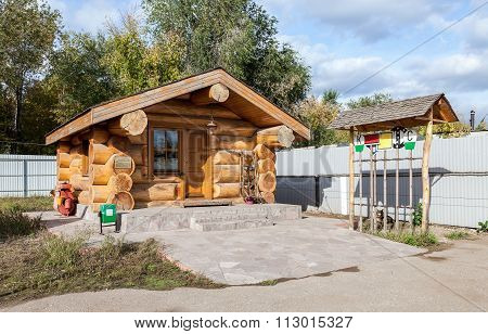 Wooden House Of Trackman At The Museum Of Railway Transport In Samara, Russia