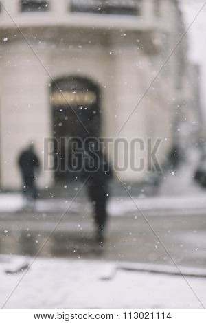 snowstorm on the street, selective focus