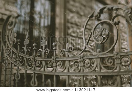 part of the old wrought iron gate,19 century,tilt-shift