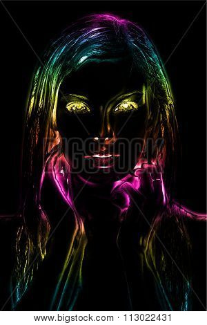 3D render of Neon light abstract digital art image of a woman's face close up. This glowing modern digital art scene is perfect for themes relating to art, vintage, retro, modern, decoration, color and more! Glowing eyes and a black background