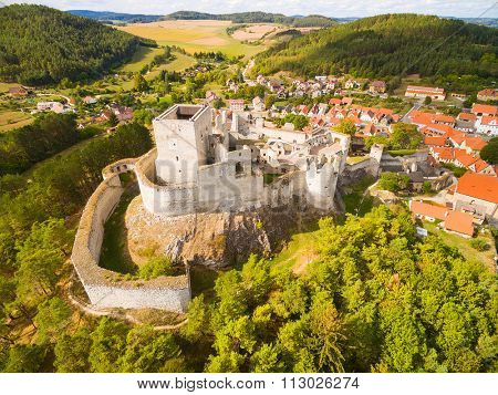 Ruins of gothic castle Rabi in National Park Sumava. Aerial view to medieval monument in Czech Republic. Central Europe.