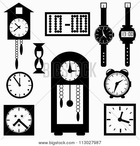Clock Symbols Vector Illustration