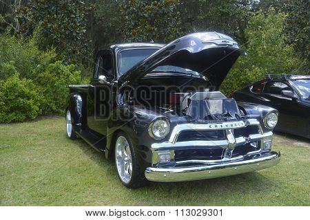 Antique car pickup Chevrolet 3100 Black color, original engine