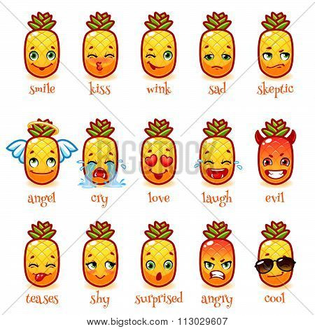 Set Of Emoticons Funny Pineapple.